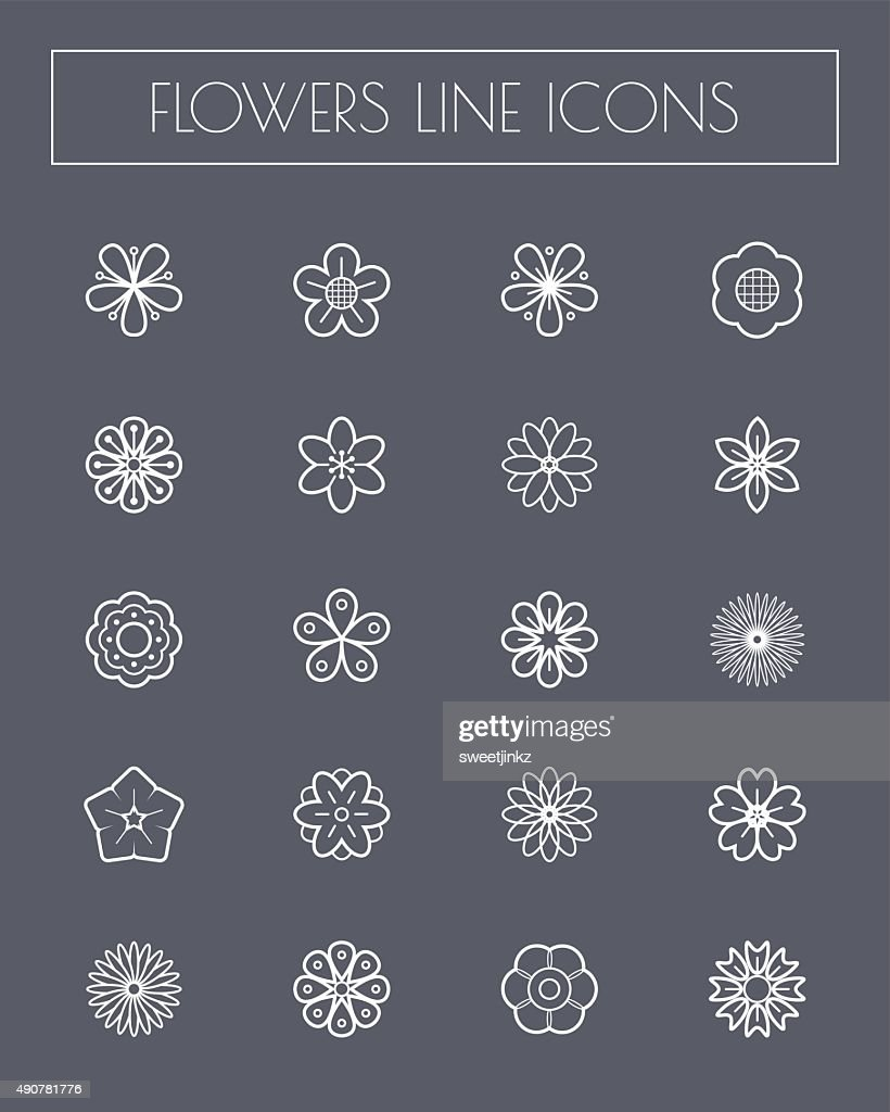 Thin line flower icons set.