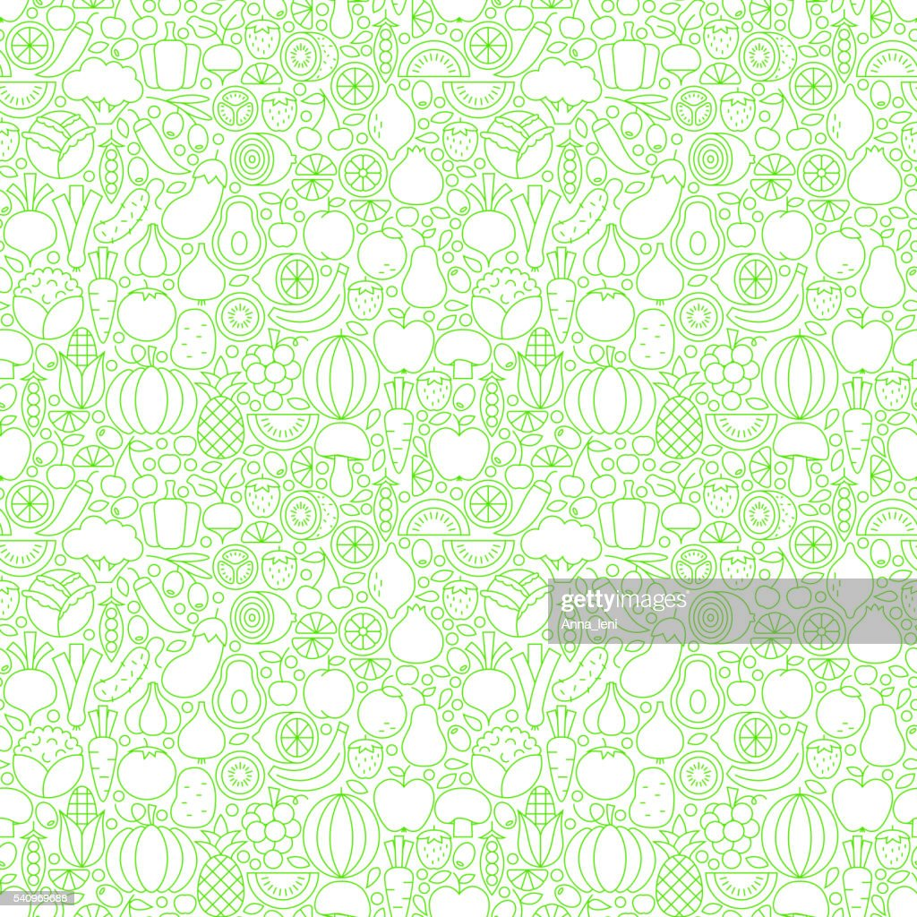 Thin Line Fresh Fruits Vegetables White Seamless Pattern