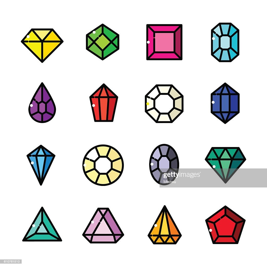 Thin line Gems icons set, vector illustration