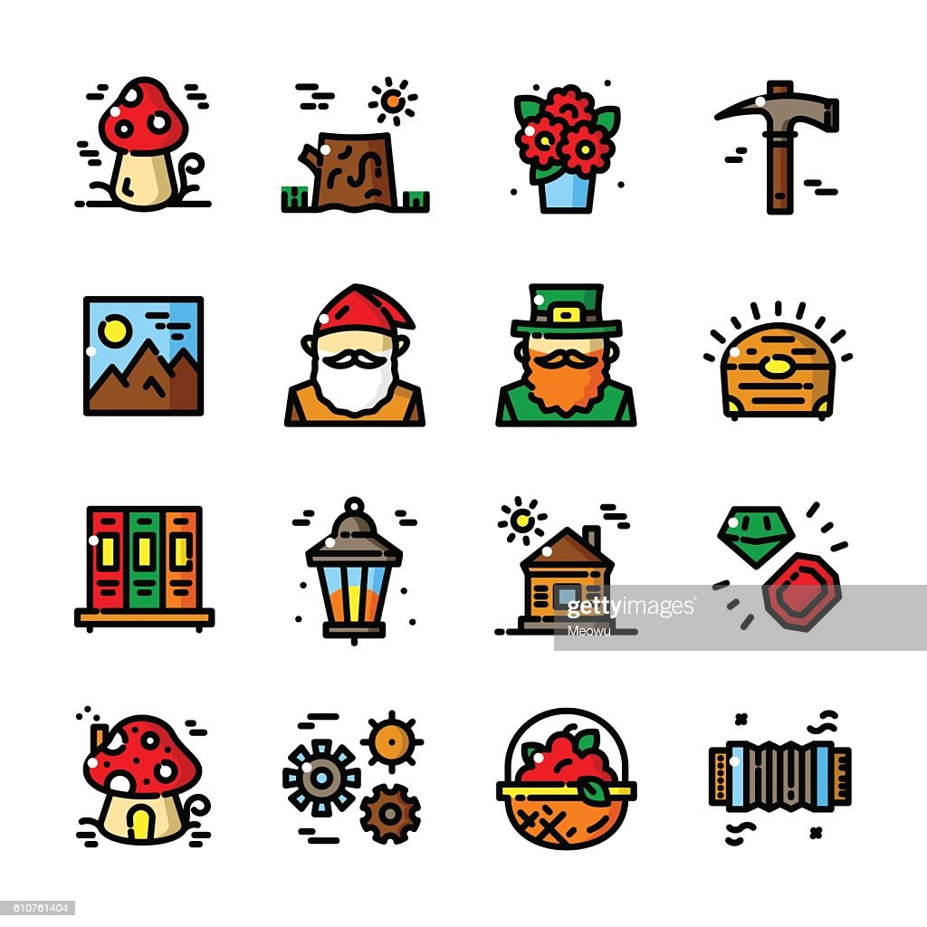 Thin line Gnome icons set, vector illustration