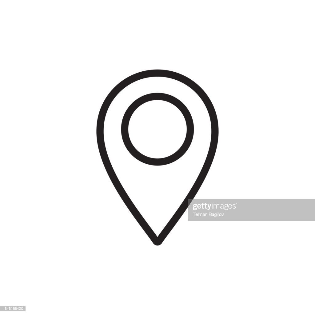 thin line google map, pin point, location icon