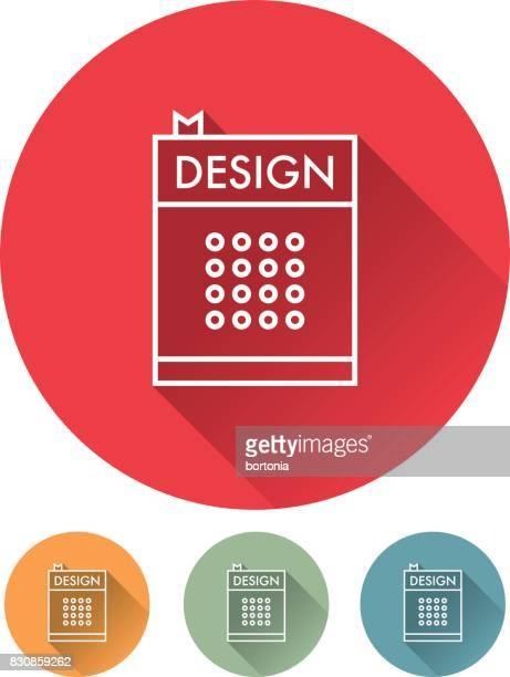 ilustrações, clipart, desenhos animados e ícones de ícones de design gráfico linha fina: livro de design - livro de capa dura