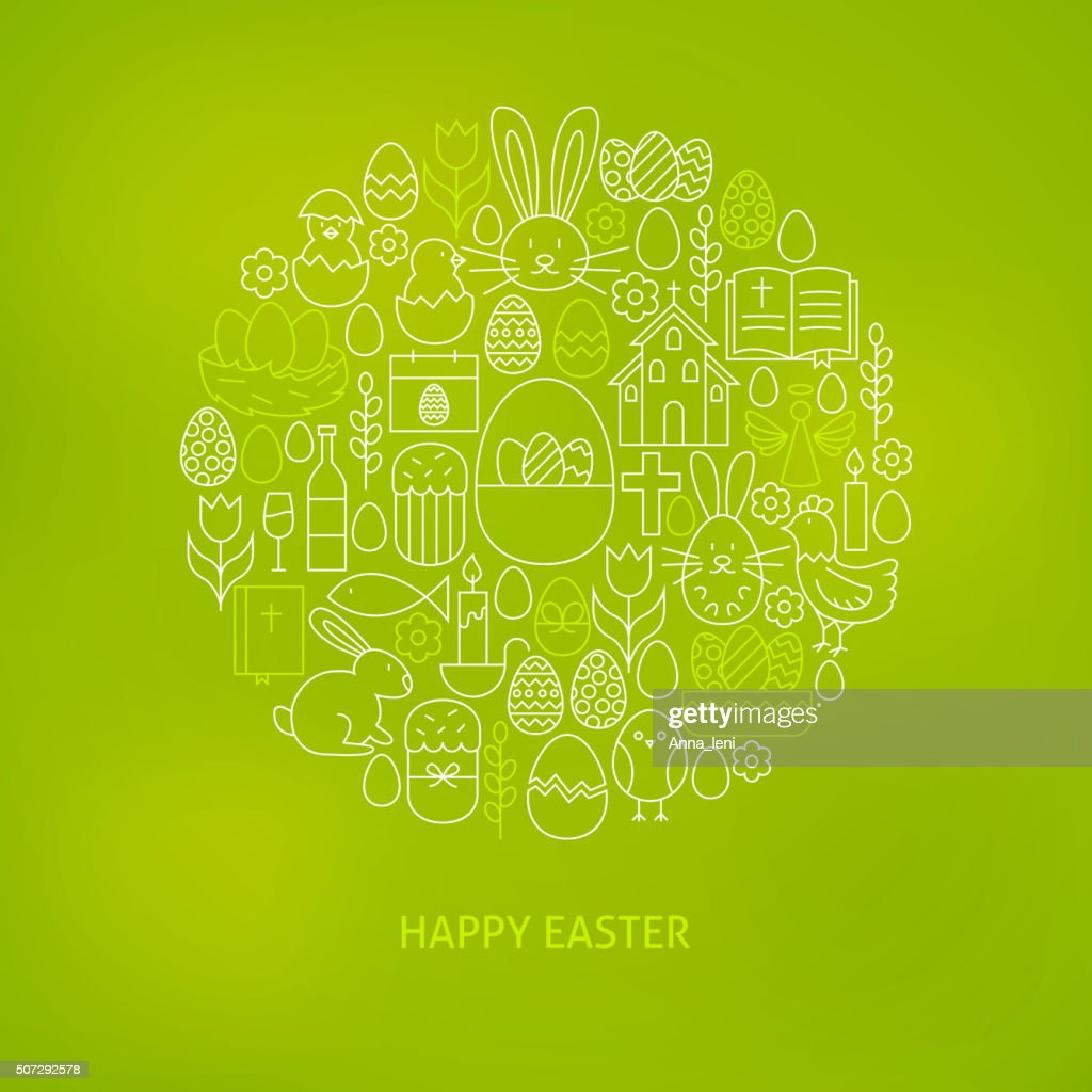 Thin Line Happy Easter Icons Set Circle Concept