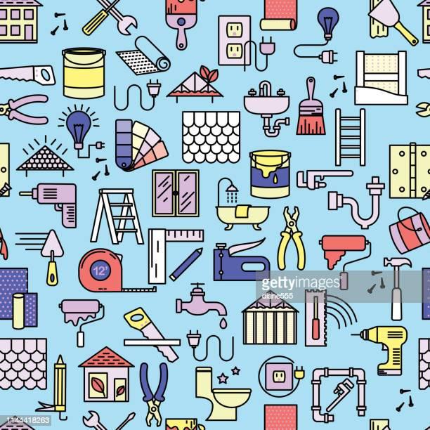 ilustraciones, imágenes clip art, dibujos animados e iconos de stock de la mejora de la casa de línea delgada patrón de fondo diy - bricolaje
