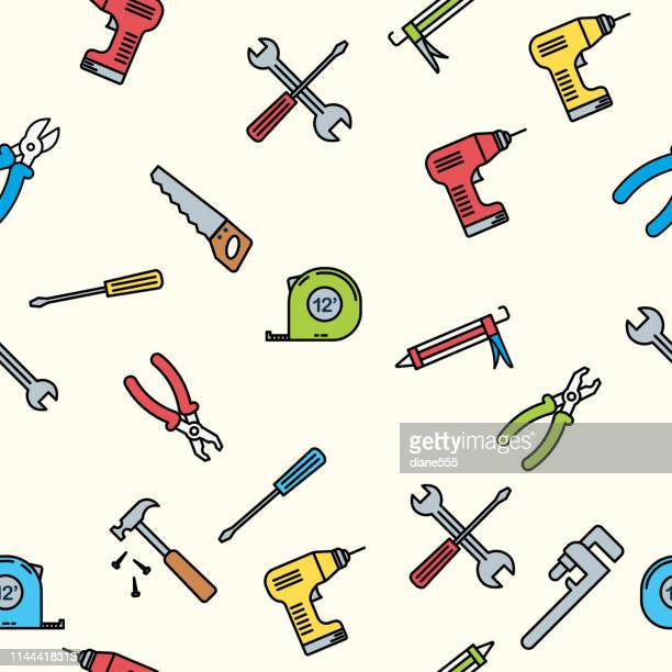 thin line home improvement diy background pattern - work tool stock illustrations