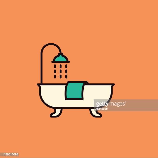 ilustraciones, imágenes clip art, dibujos animados e iconos de stock de mejora de la casa de la línea delgada bañera - bañera con patas