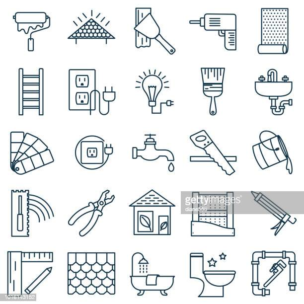 dünne linie home improvement diy-symbol - bathroom stock-grafiken, -clipart, -cartoons und -symbole