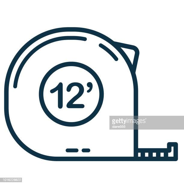 thin line home improvement diy icon - tape measure stock illustrations