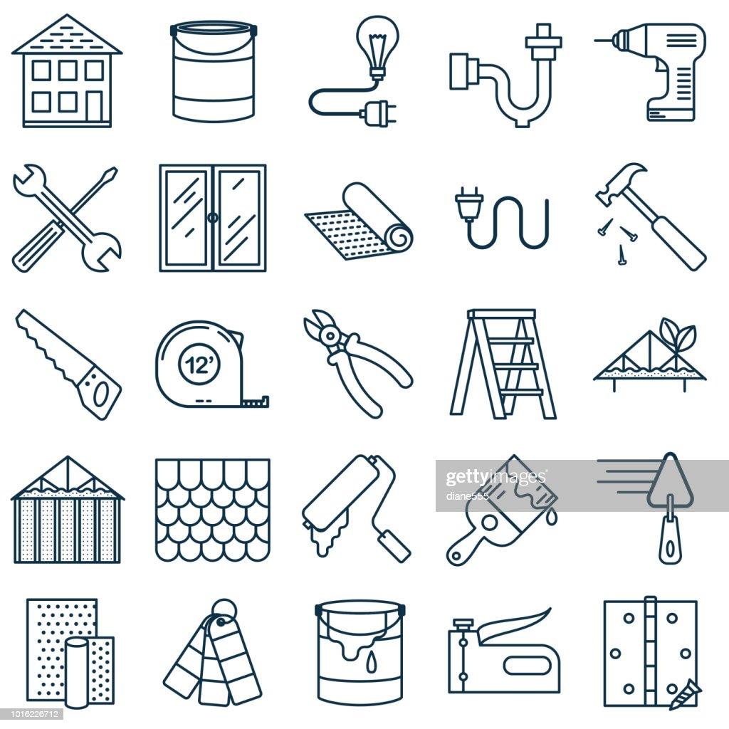 Delgada línea hogar mejora icono DIY : Ilustración de stock