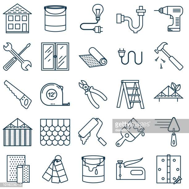 thin line home improvement diy icon - work tool stock illustrations