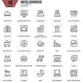 Thin line hotel services and facilities, online booking icons