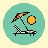 Thin Line Icon. Deck Chair.