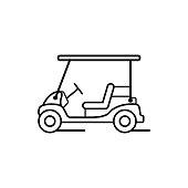 Thin line icon flat design golf cart vector image