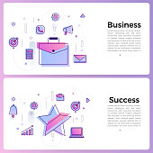 Thin line icon layout design flat design concept business and success. Vector illustrate.