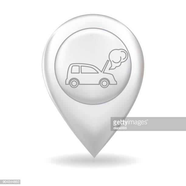 Thin Line Icon On A Map Pointer Pin - Auto Insurance