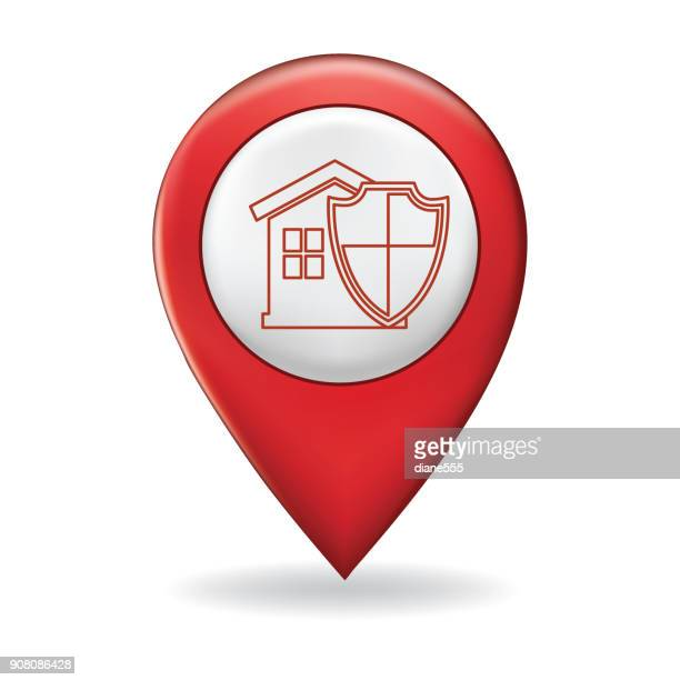 Thin Line Icon On A Map Pointer Pin - Home Insurance