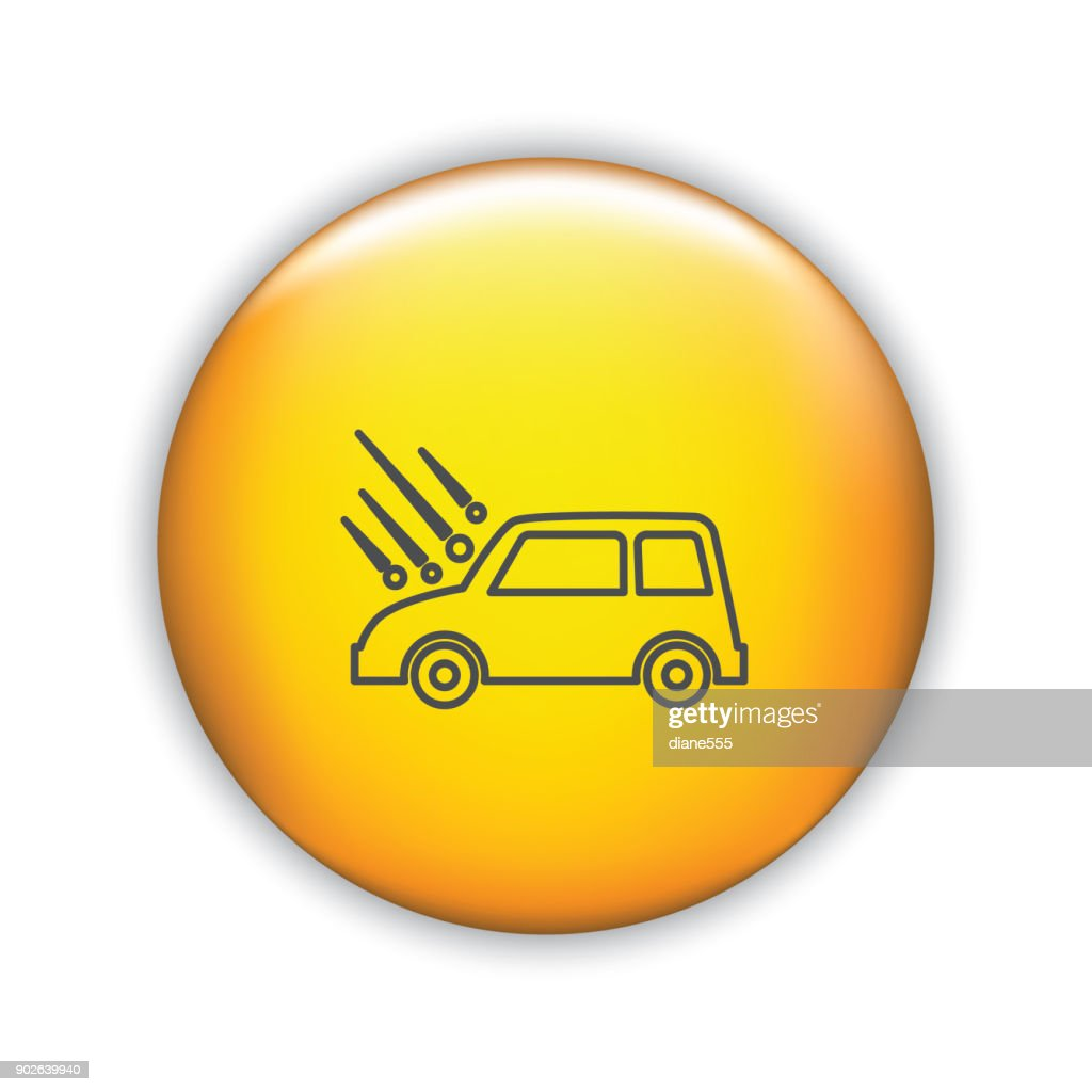 thin line icon on shiny button auto insurance vector art
