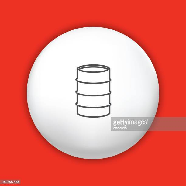 thin line icon on shiny button - fuel industry - oil drum stock illustrations, clip art, cartoons, & icons