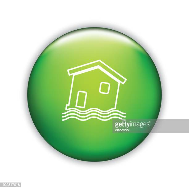 Thin Line Icon On Shiny Button - Home Insurance