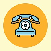 Thin Line Icon. Retro Phone.