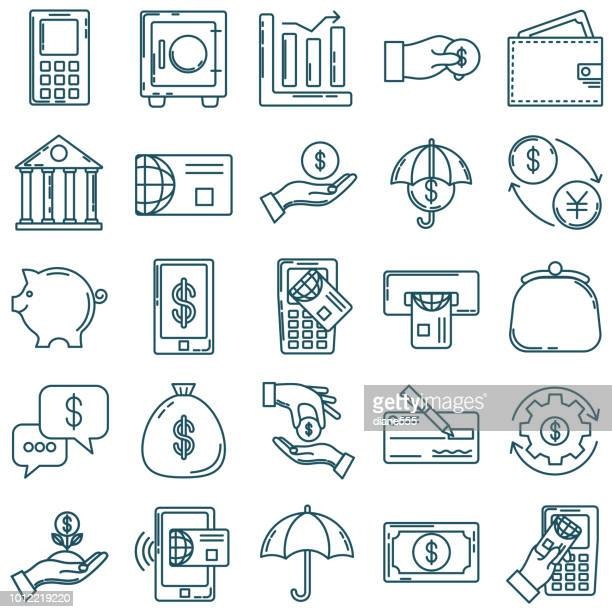 Thin Line Icon Set - Financial And Money Concepts