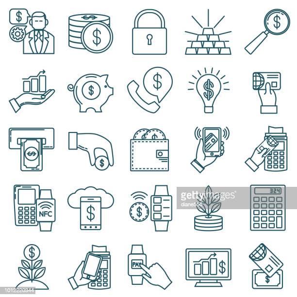 ilustrações, clipart, desenhos animados e ícones de conjunto de ícones de linha fina - financeiro e conceitos de dinheiro - pagando