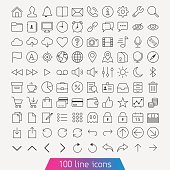 Thin line icon set.