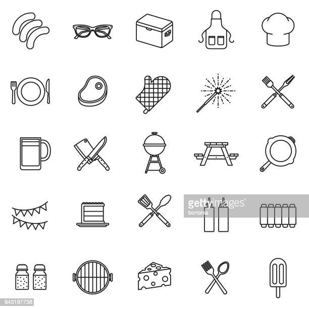 BBQ Thin Line Icon Set