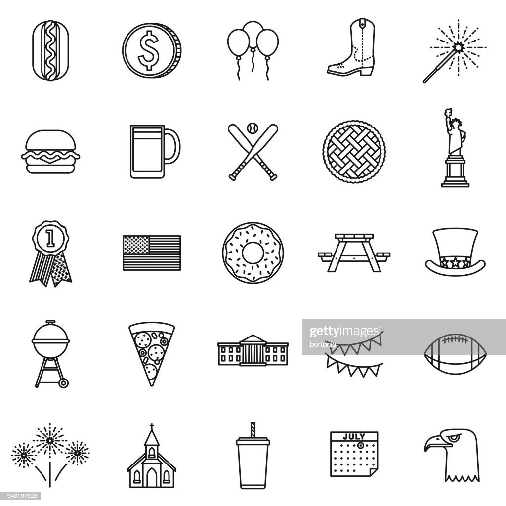 USA Thin Line Icon Set
