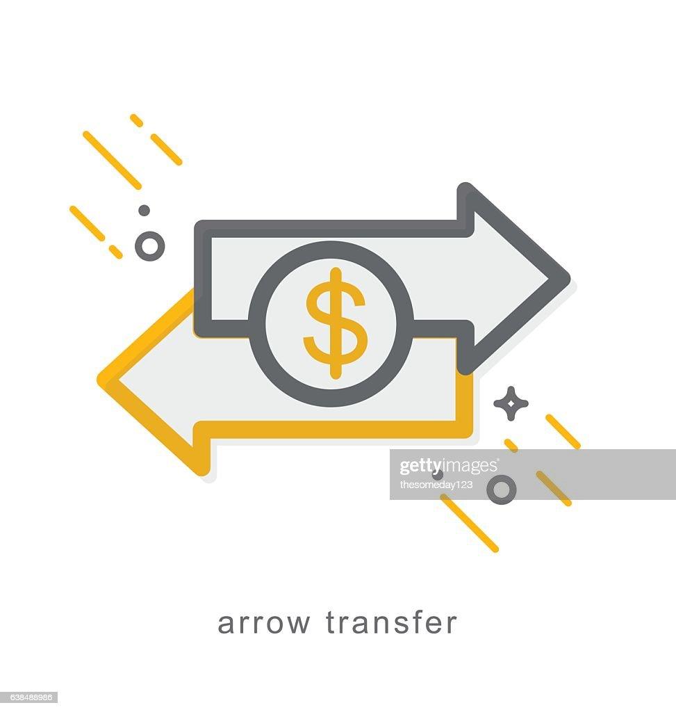 Thin line icons, arrow transfer