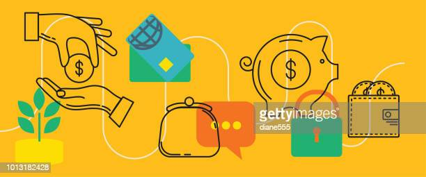 Thin Line Icons Banners - Financial And Money Concepts