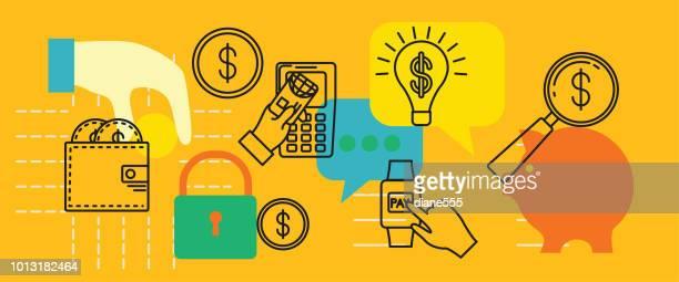 dünne linie symbole banner - finanz- und geld-konzepte - kapitalrendite stock-grafiken, -clipart, -cartoons und -symbole