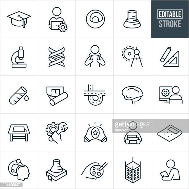 stem thin line icons - editable stroke - stem topic stock illustrations