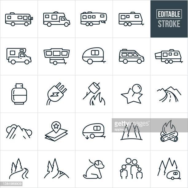 illustrations, cliparts, dessins animés et icônes de rv icons thin line - course modifiable - camping car