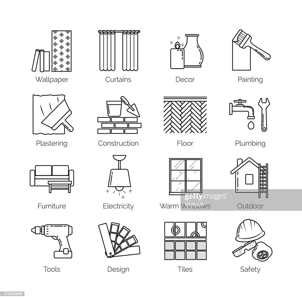Thin line icons for house design, repair, construction, decoration, renovation