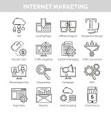 Thin line icons for internet marketing and seo
