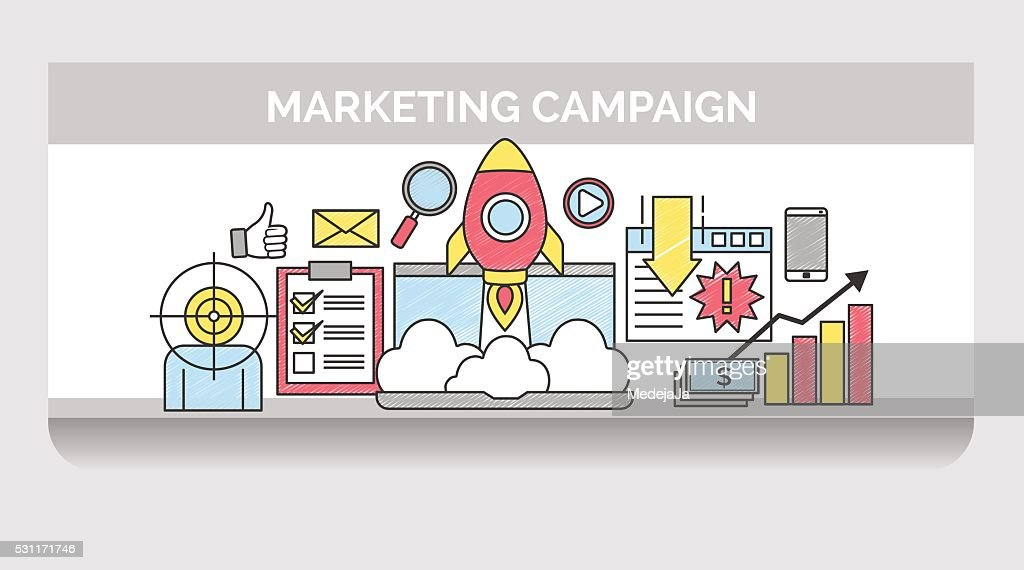Thin line icons for internet marketing campaign