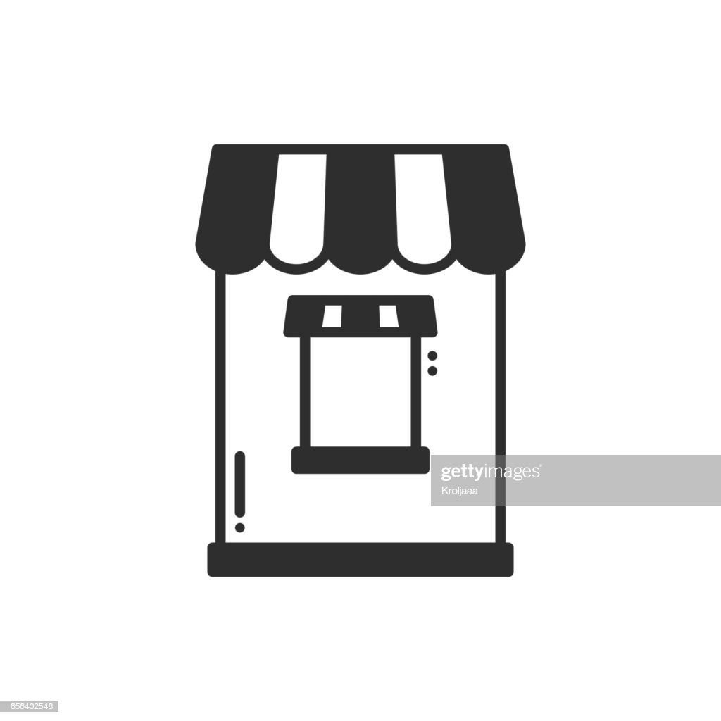 Thin line icons set. Cashbox, ticket window. Food kiosk, trolley, mobile cafe, shop, trade cart. Vector style linear icons. Isolated illustration. Symbols. Object. Sale silhouette