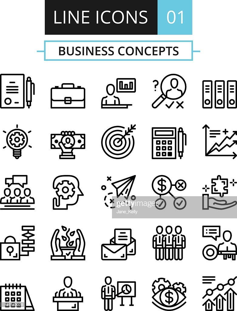 Thin line icons set. Flat line design concepts for business