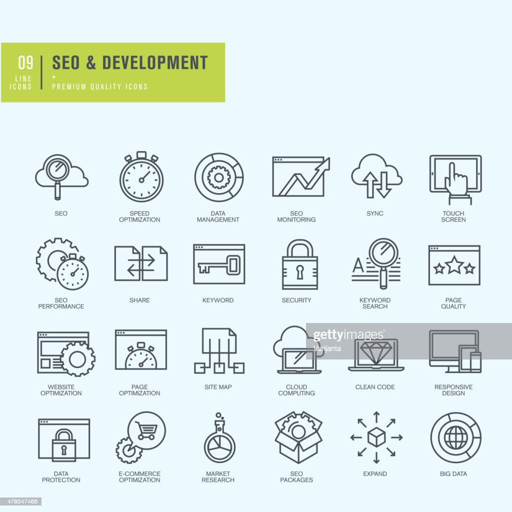 Thin line icons set for web and app development