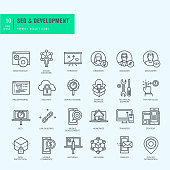 Thin line icons set for website and app development