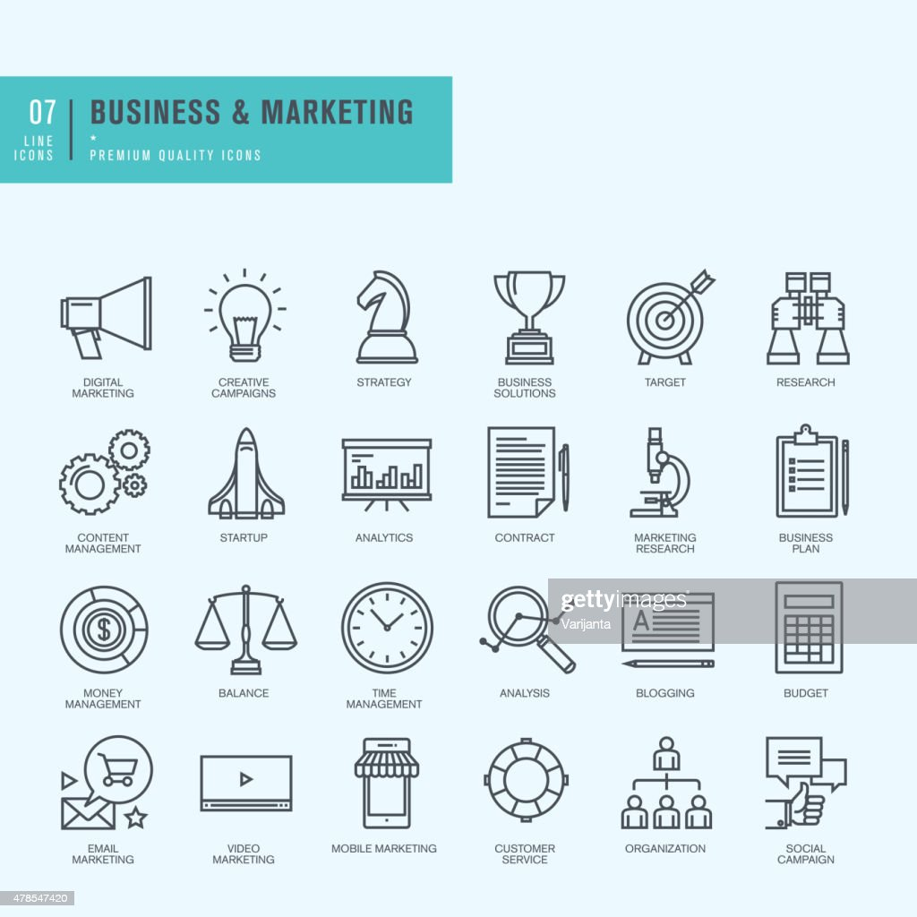 Thin line icons set. Icons for business, digital marketing.