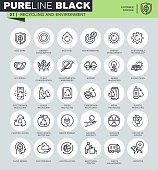 Thin line icons set of recycling, waste management, environmental protection