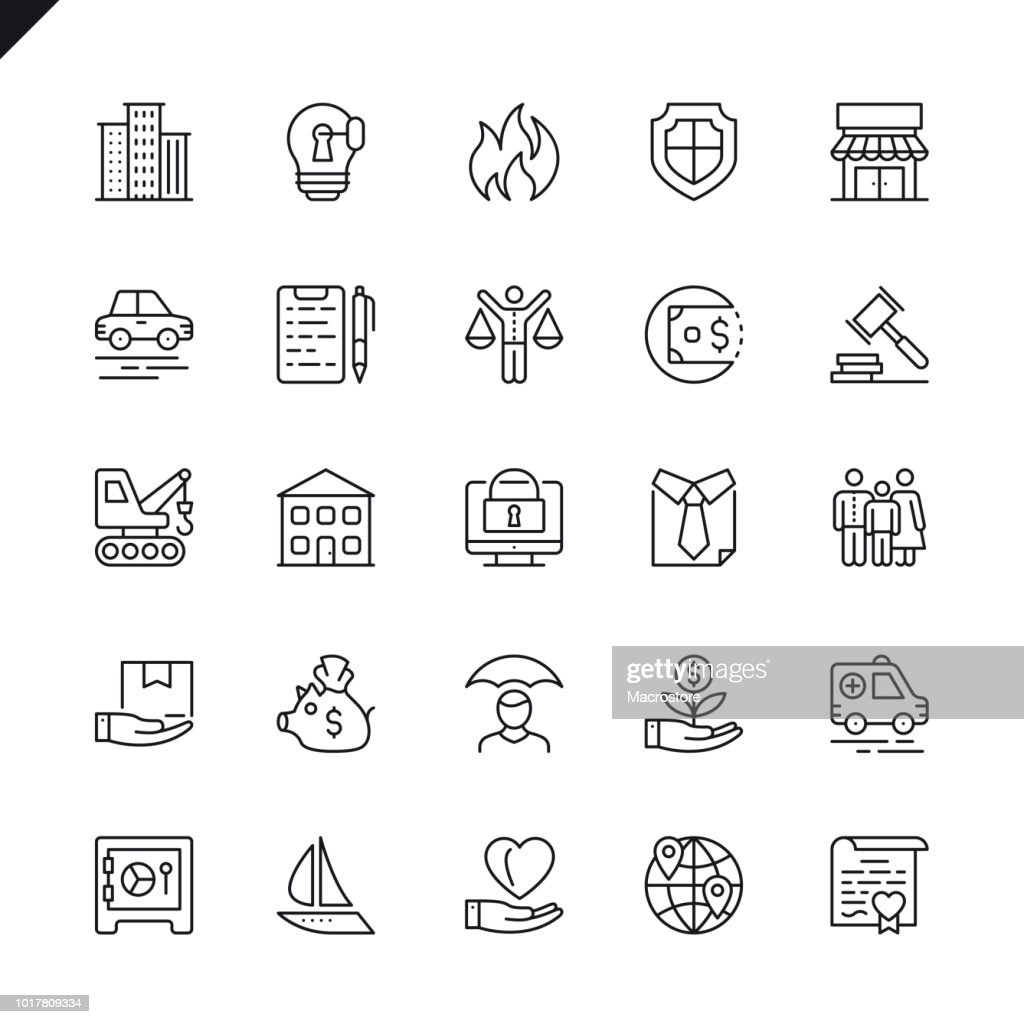Thin line insurance icons set