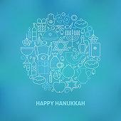 Thin Line Jewish Happy Hanukkah Holiday Icons Set Circle Shaped