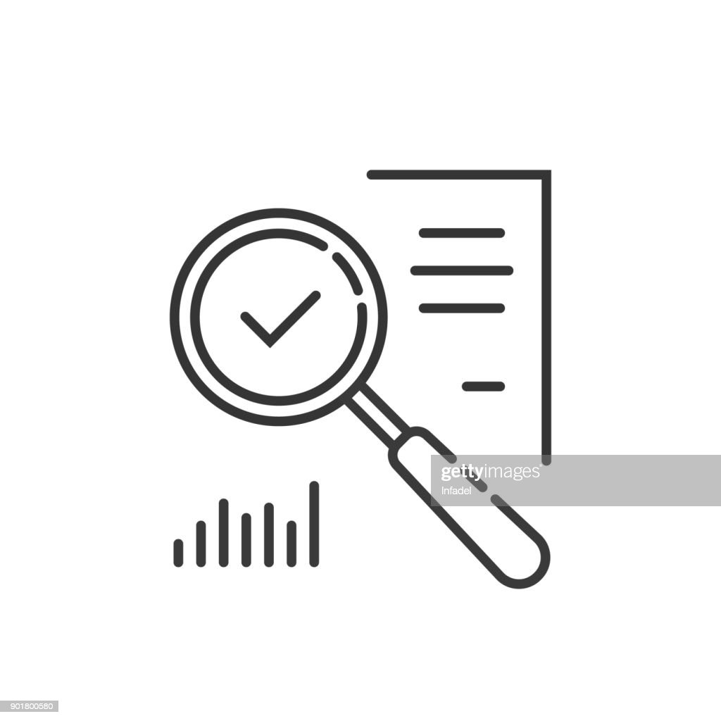 thin line magnifying glass like audit assess