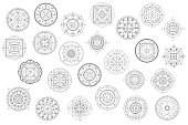 Thin line mandala ornament vector clipart. Black and white mandala coloring elements.