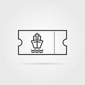 thin line marine boat ticket black icon