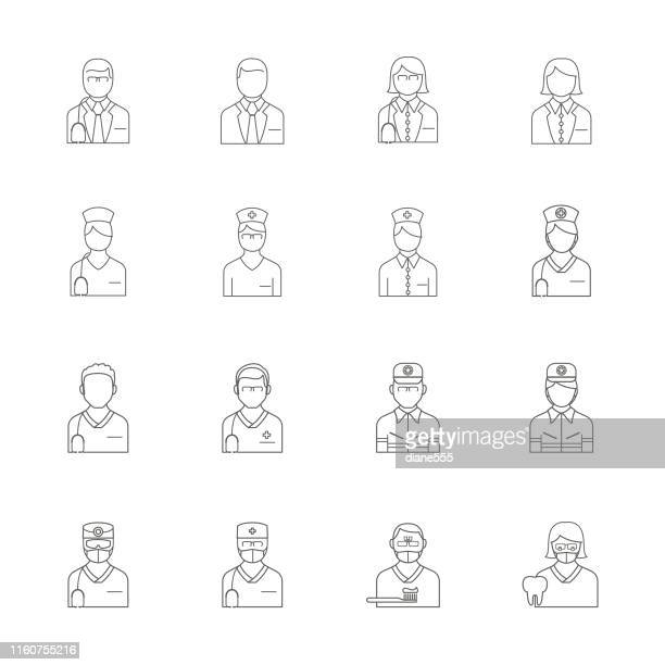 thin line medical professional icon - surgeon stock illustrations