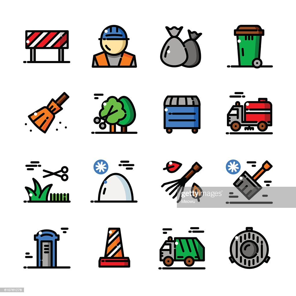 Thin line Municipal services vector icons